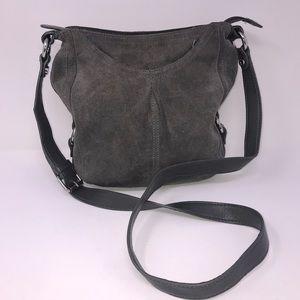 Tignanello Gray Leather Suede Crossbody Purse